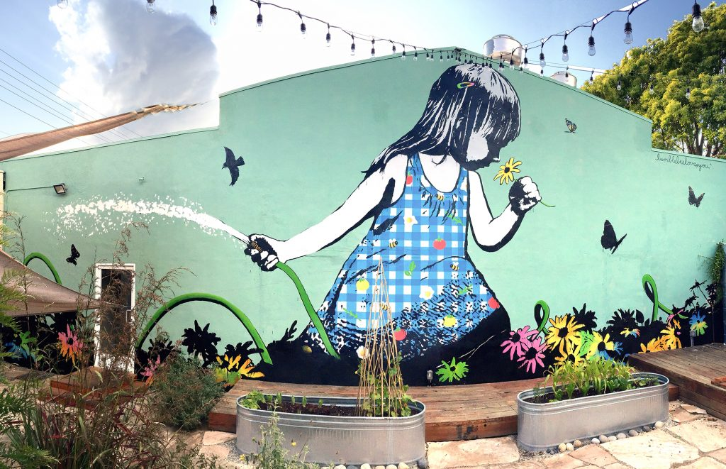 bumblebeelovesyou, superba restaurant, superba, venice beach, california, los angeles, mural, artist, girl in garden