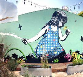 bumblebeelovesyou, superba restaurant, superba, venice beach, california, los angeles, mural, artist, girl in garden